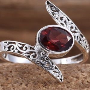 NEW Faceted Garnet Sterling Silver Ring Size 7